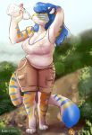 1girl 1girl anthro beverage blue_hair bottle breasts cleavage clothed clothing drinking feline furry green_eyes hair inner_ear_fluff lizombie long_hair mammal nipples patreon shirt shorts stripes tank_top tiger translucent transparent_clothing victoria_(two-ts) water