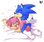 1girl amy_rose anus areola breasts ear_nibble grabbing_sheets green_eyes hairband happy_sex laughing missionary nipples nude on_bed pussy pussy_juice sega socks sonic_(series) sonic_the_hedgehog vaginal_penetration