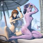 1:1_aspect_ratio 1girl 2_girls blizzard_entertainment d.va_(overwatch) multiple_girls nude outside overwatch queencomplex widowmaker_(overwatch)