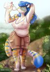 1girl anthro beverage blue_hair bottle breasts cleavage clothed clothing dickgirl drinking feline furry green_eyes hair inner_ear_fluff intersex lizombie long_hair mammal nipples patreon penis shirt shorts stripes tank_top tiger translucent transparent_clothing victoria_(two-ts) water