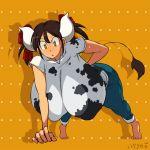 anthro big_breasts cow mega_tits nipples push-ups