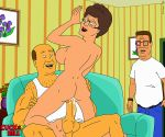 big_breasts bill_dauterive cowgirl_position cum_inside erect_nipples erection hank_hill king_of_the_hill nude peggy_hill penetration