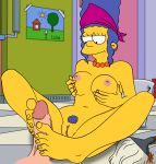 1boy 1girl breasts devillord footjob marge_simpson nipples penis pussy the_simpsons