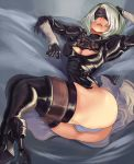 1girl ass blindfold cleavage cleavage_cutout cutesexyrobutts hand_on_head large_ass leotard lying mole nier nier:_automata short_hair skindentation stockings thighhigh_boots white_hair yorha_no._2_type_b