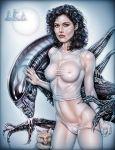 1girl alien alien_(franchise) armando_huerta breasts ellen_ripley female female_human looking_at_viewer panties panties_pull saliva see-through sigourney_weaver underwear xenomorph