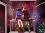 1girl 1girl 1guy anime blue_hair brown_hair commission digital_media_(artwork) fanboy ferris fireworks fuyu girlfriend human kissing male mikoto mikoto_urabe mysterious_girlfriend_x nazo_no_kanojo_x oc original_character patreon photoshop saliva shadow2007x short_hair valentines wheel
