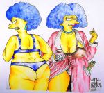 bra huge_ass huge_breasts nipples panties patty_bouvier selma_bouvier the_simpsons