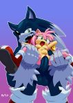 1boy 1girl abdominal_bulge amy_rose big_penis boots bracelet breasts claws eyelashes from_behind furry gloves green_eyes hairband hedgehog humanoid_penis is_(artist) large_insertion leg_grab looking_pleasured male/female navel nipples open_mouth quills sega sharp_teeth size_difference smile sonic_(series) sonic_the_werehog spread_legs stand_and_carry_position testicle tongue_out vaginal_penetration
