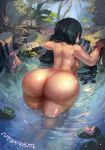 1girl artist_name ass asui_tsuyu black_hair breasts bubble_butt cutesexyrobutts edit forest from_behind green_eyes green_hair high_resolution huge_ass legs light-skinned light-skinned_female lily_pad long_hair looking_at_viewer looking_back medium_breasts my_hero_academia nature nude outside pond pregnant reflection robutts rock sideboob signature thick_thighs thighs tree very_long_hair water wet