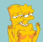 bart_simpson big_breasts brother_and_sister erect_nipples gif incest lisa_simpson smile squeezing_breasts the_simpsons