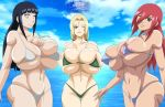 3_females 3_girls 3girls areola areolae arms ass bangs bare_shoulders beach big_boobies big_boobs big_breasts big_chest big_tits bikini bikini_bottom bikini_top black_hair blond blond_hair blonde blonde_hair blue_sky boobies boobs breasts brown_eyes butt chest clouds eyebrows eyelashes female female_only females females_only fingers forehead forehead_mark greengiant2012 greengiant2012_(artist) hands hands_on_breasts hinata hinata_hyuga hinata_hyuuga huge_boobs huge_breasts huge_tits hyuga_hinata hyuuga_hinata large_breasts lavender_eyes lips lipstick long_hair looking_at_viewer multiple_females multiple_girls naruto naruto_shippuden naruto_shippuuden navel ocean one_eye_closed one_eye_open red_hair red_head redhead sea shoulders sky stomach tagme tayuya thighs tits tsunade wink