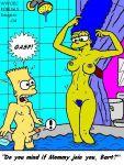 ! areolae bart_simpson blue_hair blue_pubic_hair breasts dagger_(artist) marge_simpson nipples penis pubic_hair speech_bubble the_simpsons yellow_skin