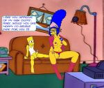 1boy 1girl ??? age_difference areolae bart_simpson black_eyes blue_hair blue_pubic_hair boots breasts english_text erection eyelashes high_heel_boots high_heels indoors invitation marge_simpson mother_and_son navel nipples open_clothes penis pink_boots pubic_hair pussy question sitting size_difference sofa telephone text the_simpsons toes yellow_skin