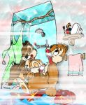 1girl 2boys anthro bath bath_curtain blowjob brown_fur buckteeth chip chip_'n_dale_rescue_rangers chipmunk clarice_(chip_'n_dale) closed_eyes dale disney from_behind furry half-closed_eyes nude open_mouth short_tail shower soap tan_fur tongue_out towel trio