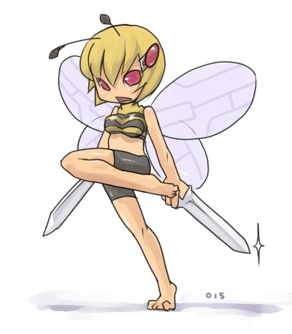 1_female 1_girl beedrill blonde_hair female female_only hair hybrid pokemon solo standing sword tagme weapon white_background