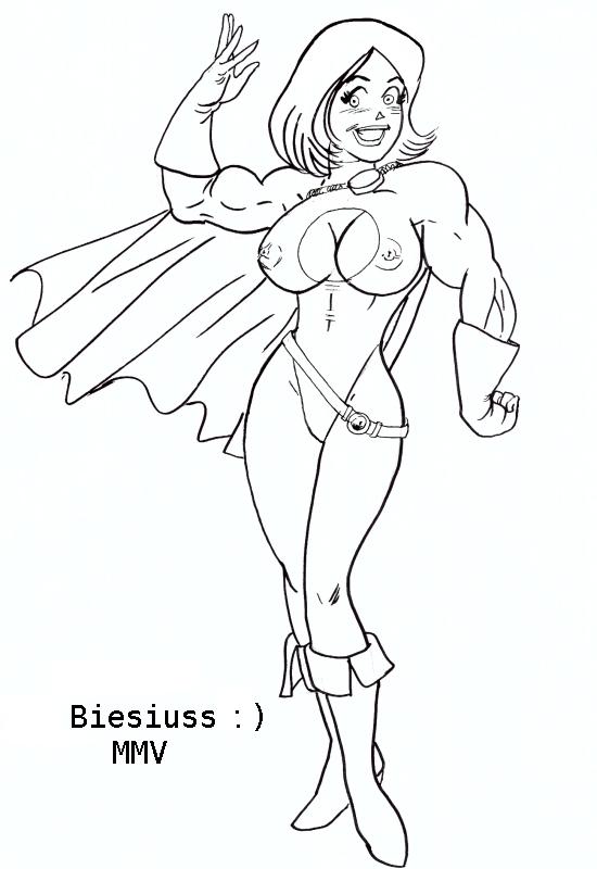 archie_comics betty_cooper biesiuss biesiuss_(artist) breasts cosplay dc full_body lipstick monochrome muscle nipples power_girl