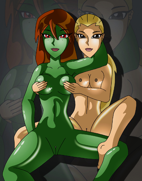artemis artemis_crock blonde_hair breast_grab breasts dc green_skin lipstick long_hair m'gann_m'orzz mature megan_morse miss_martian nipple nude ponytail pussy red_eyes x^j^kny x^j^kny_(artist) young_justice yuri