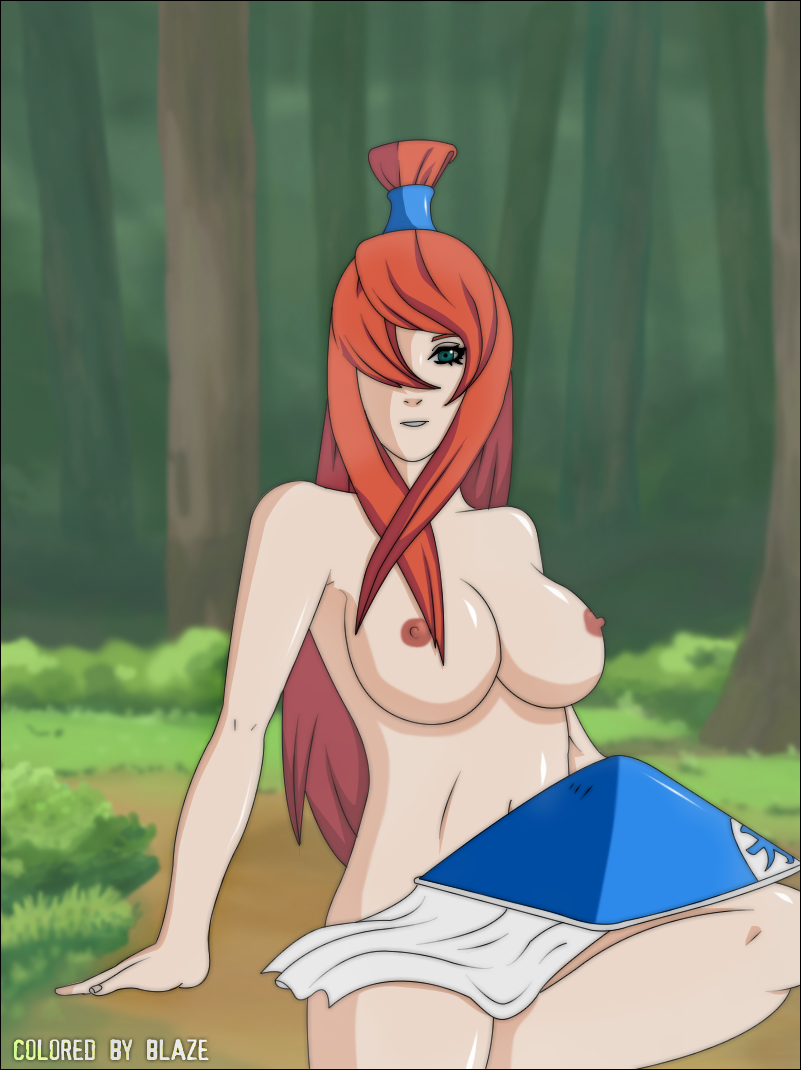 1girl areolae artist_request big_breasts breasts erect_nipples forest grass green_eyes hair hair_over_one_eye hat headgear large_breasts legs long_hair looking_at_viewer mei_terumi mizukage naruto naruto_shippuden naruto_shippuuden nature ninja nipples nude pose red_hair red_nipples sitting smile solo terumi_mei thighs tree