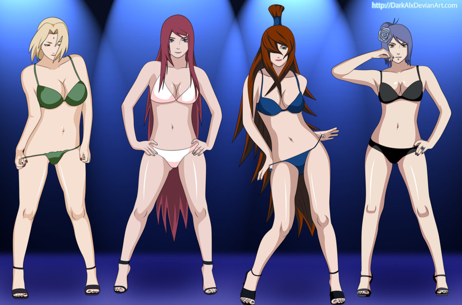 4_girls 4girls bare_shoulders bikini black_nails blonde_hair blue_hair blue_nails breasts cleavage darkalx facial_mark feet female forehead_mark hair_over_one_eye hands_on_hips konan kushina_uzumaki labret_piercing large_breasts lineup long_hair mei_terumi midriff multiple_girls nail_polish naruto naruto_shippuuden navel red_hair red_nails sandals short_hair swimsuit terumi_mei toenail_polish toes tsunade uzumaki_kushina very_long_hair