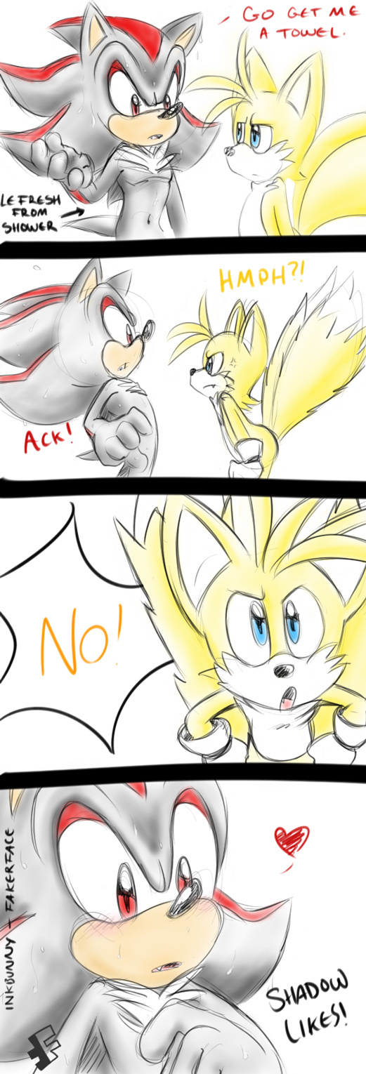 """comic fakerface_(artist) furry gay male miles_""""tails""""_prower shadow_the_hedgehog shails"""