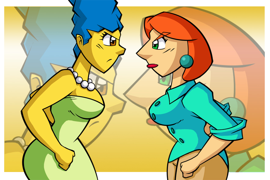 angry breasts chadrocco family_guy lois_griffin marge_simpson marge_vs_lois the_simpsons yellow_skin