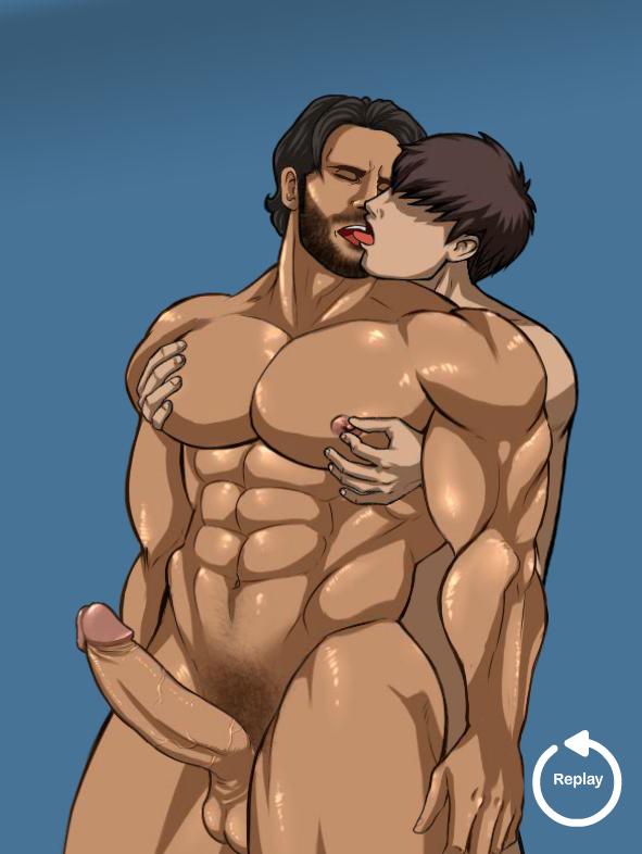 2boys bara facial_hair gay human kissing male male_only multiple_boys muscle muscular nippleplay nude pecs penis yaoi