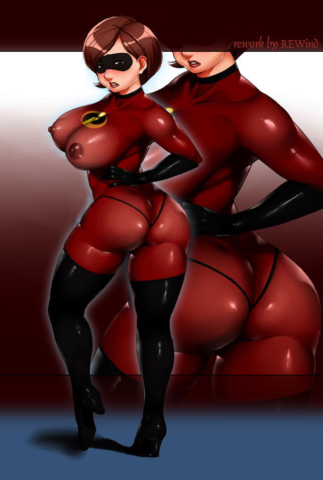 ass big_ass big_breasts blush bodysuit boots breasts brown_hair curvy disney domino_mask elastigirl erect_nipples ganto gloves gradient gradient_background huge_ass large_breasts latex latex_gloves looking_at_viewer looking_back mask milf nipples no_bra pixar see-through short_hair skin_tight skintight solo the_incredibles thick_thighs thigh_boots thighhighs thighs thong wide_hips zoom_layer