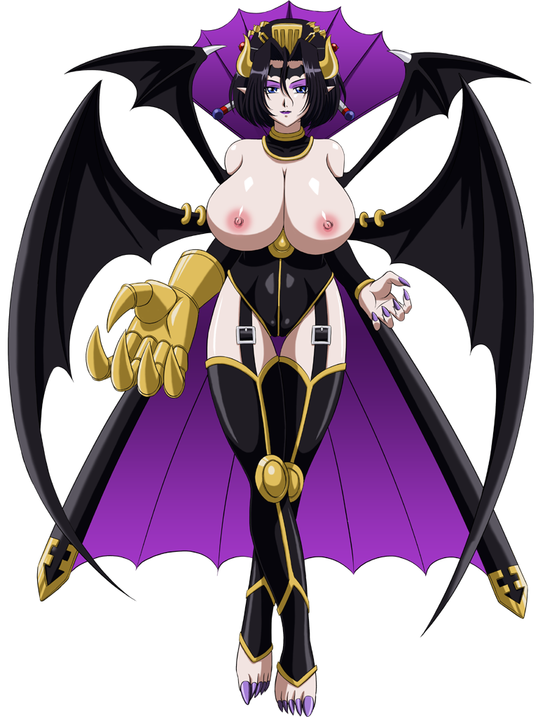 big_breasts black_hair blue_eyes breasts demon_girl digimon digimon_xros_wars glamour_works horns lilithmon lipstick nipples succubus topless
