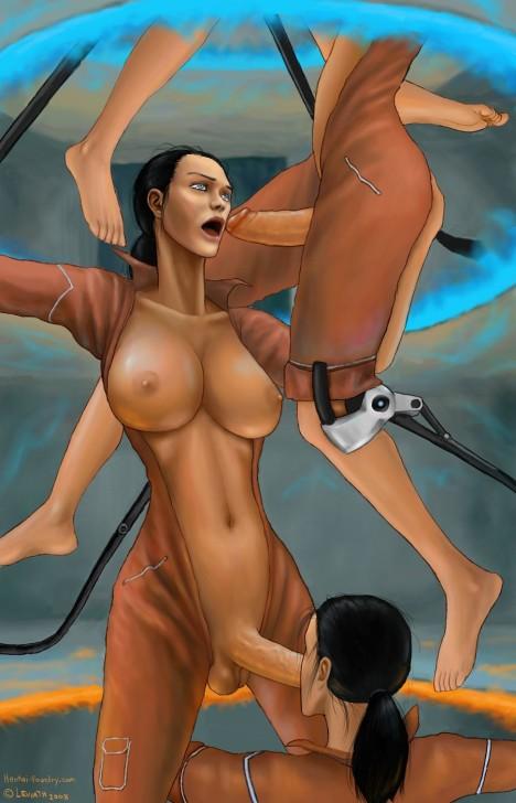 big_breasts blue_eyes breasts brown_hair chell futanari hair intersex penis portal portal_(series) portal_(video_game) testicles thinking_with_portals toes