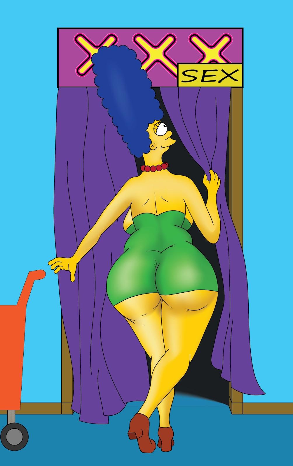 big_ass blue_hair butt_crack green_dress marge_simpson sideboob the_simpsons