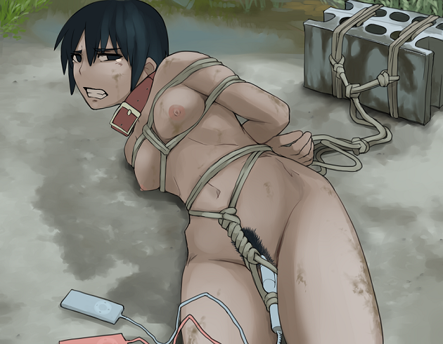1girl arms_behind_back bangs bdsm black_hair bondage bound bound_arms breast_bondage breasts brick clenched_teeth collar copyright_request crotch_rope crying crying_with_eyes_open dirt dirty dog_collar female looking_at_viewer lvi lying navel nipples nude on_ground on_side outdoors pubic_hair puddle restrained rope shibari short_hair solo tears teeth tied tied_up vibrator wet