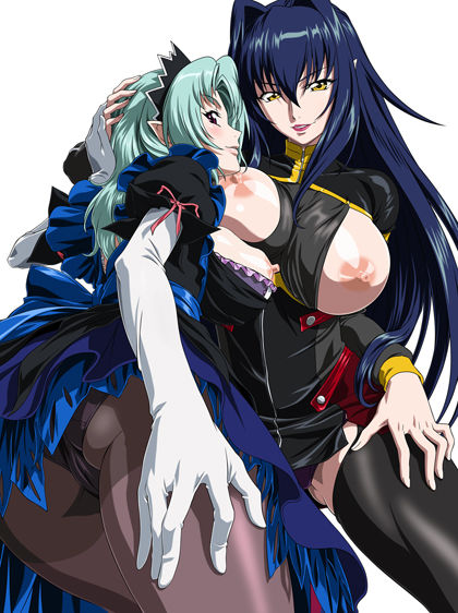 2girls annerose_vajra breasts female green_hair koutetsu_no_majo_anneroze large_breasts long_hair mitico_fleuretty multiple_girls nipples