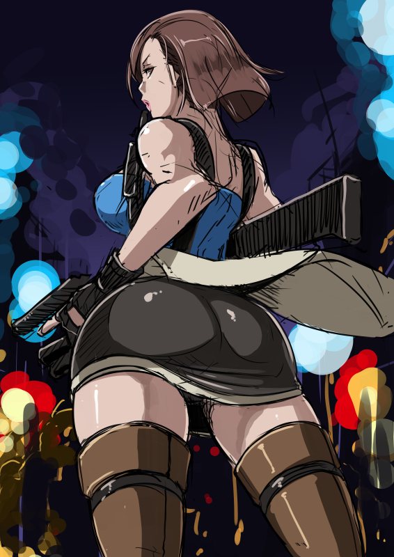 1girl armpit_holster ass bob_cut boots breasts brown_eyes brown_hair brown_legwear butcha-u casual clothes_around_waist dual_wielding eroquis from_behind gun handgun holster jill_valentine large_breasts lipstick makeup miniskirt pistol puckered_lips resident_evil resident_evil_3 rifle short_hair sketch skirt solo thigh_boots thighhighs weapon zettai_ryouiki