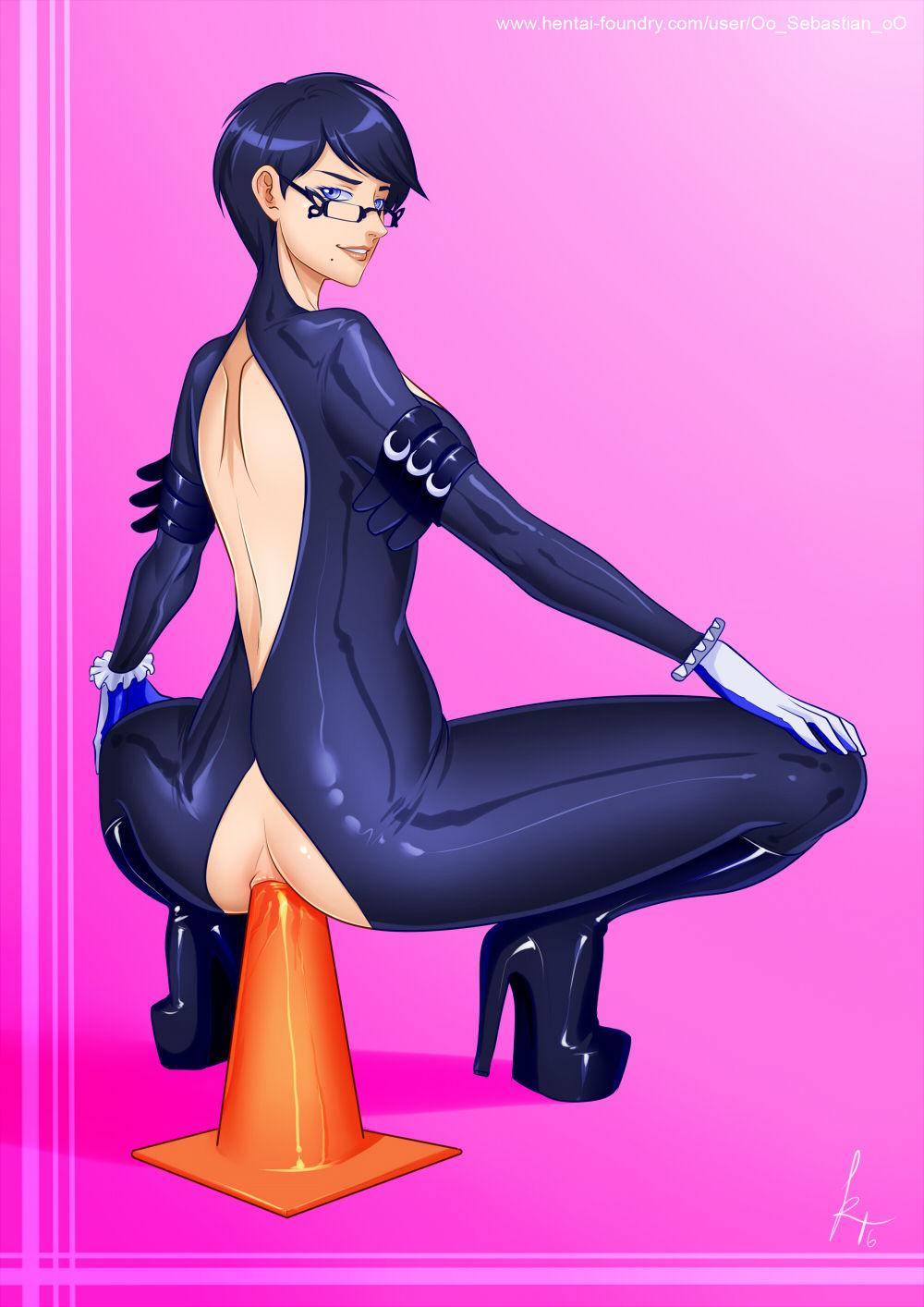 ass bayonetta bayonetta_(character) cone glasses high_heels oo_sebastian_oo_(artist) pussy riding squat