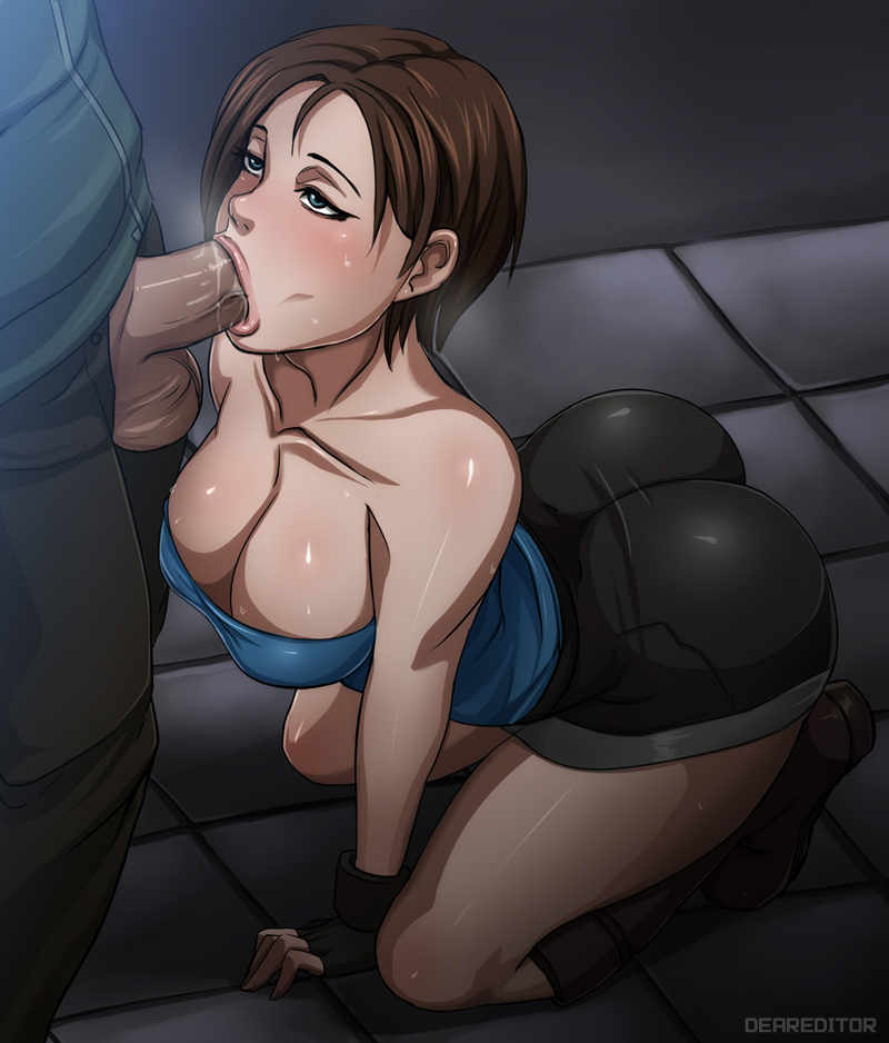 1boy 1girl all_fours arm arm_support artist_name ass bare_shoulders bbc big_penis black_gloves blue_eyes blush breasts brown_hair capcom cleavage clothed collarbone deareditor deep_penetration fellatio female_duty fingerless_gloves gloves hair huge_breasts indoors interracial jill_valentine large_breasts large_penetration latex legs lips neck nice_tits no_hands non_nude oral penis precum resident_evil resident_evil_3 saliva sex shiny shiny_skin shoes short_hair shorts solo_focus strapless sweat testicles thighs tubetop uncensored uniform
