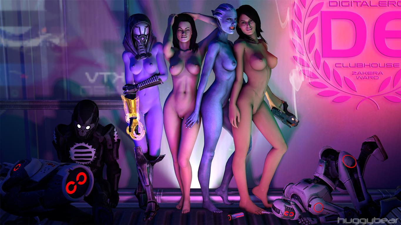 1girl 3d 4girls areola asari ashley_williams breasts gun huggybear liara_t'soni mass_effect miranda_lawson nipples nude quarian source_filmmaker tali'zorah_nar_rayya weapon