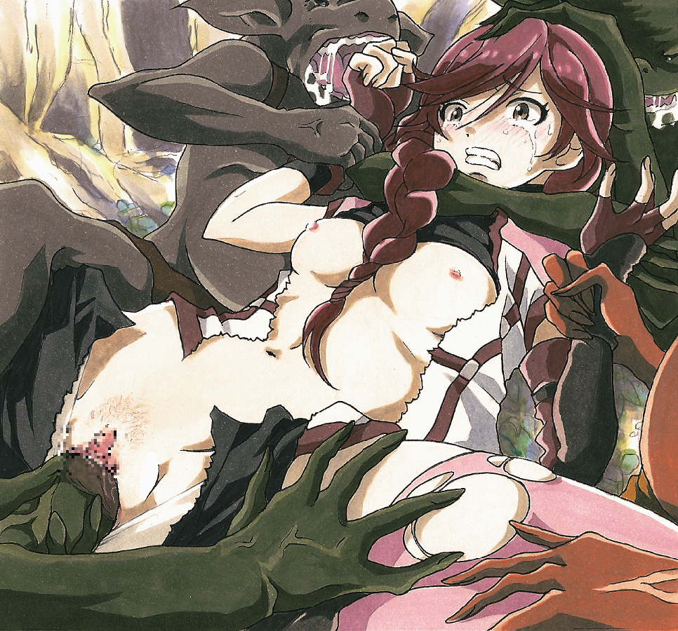 bestiality blush braid breasts brown_eyes brown_hair clenched_teeth crying crying_with_eyes_open fingerless_gloves gang_rape gangbang gloves goblin group_sex hai_to_gensou_no_grimgar lostunicorn monster navel nude rape red_hair restrained saliva sex single_braid solo_focus spread_legs sweat tears teeth torn_clothes vaginal wide-eyed yume_(grimgar)