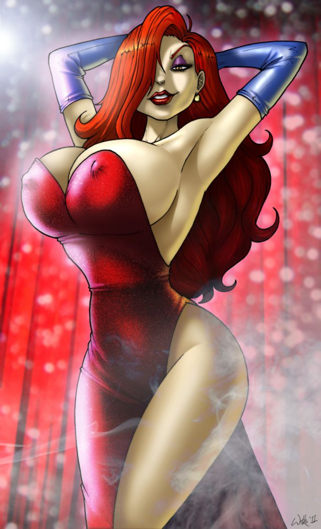 1_female 1_girl big_breasts breasts cleavage disney dress erect_nipples female female_only fuckable human human_only insanely_hot inviting jessica_rabbit long_hair looking_at_viewer nipples red_hair redhead smile standing who_framed_roger_rabbit wilko wilko_(artist)