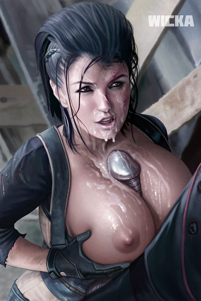 1boy 1girl actress angel_dust between_breasts big_breasts black_hair breast_grab breasts breasts_grab celeb colossus cum cum_on_body cum_on_breasts cum_on_upper_body deadpool facial gina_carano gloves grey_skin huge_breasts lips long_hair male marvel marvel_comics nipples paizuri penis semen teeth tongue torn_clothes wicka x-men