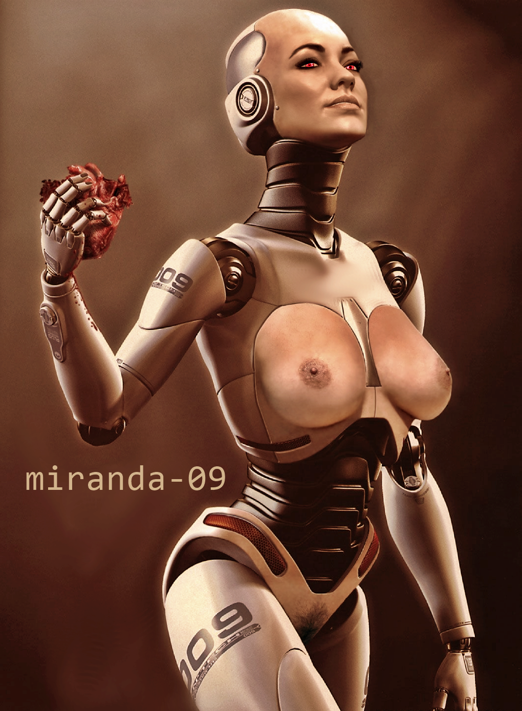 1girl 3d a.i breasts cyborg fake female_solo games mass_effect mass_effect_2 mass_effect_3 miranda_lawson nipples nude posing pussy pussy_hair red_eyes render robot solo_female video_games xnalara xps