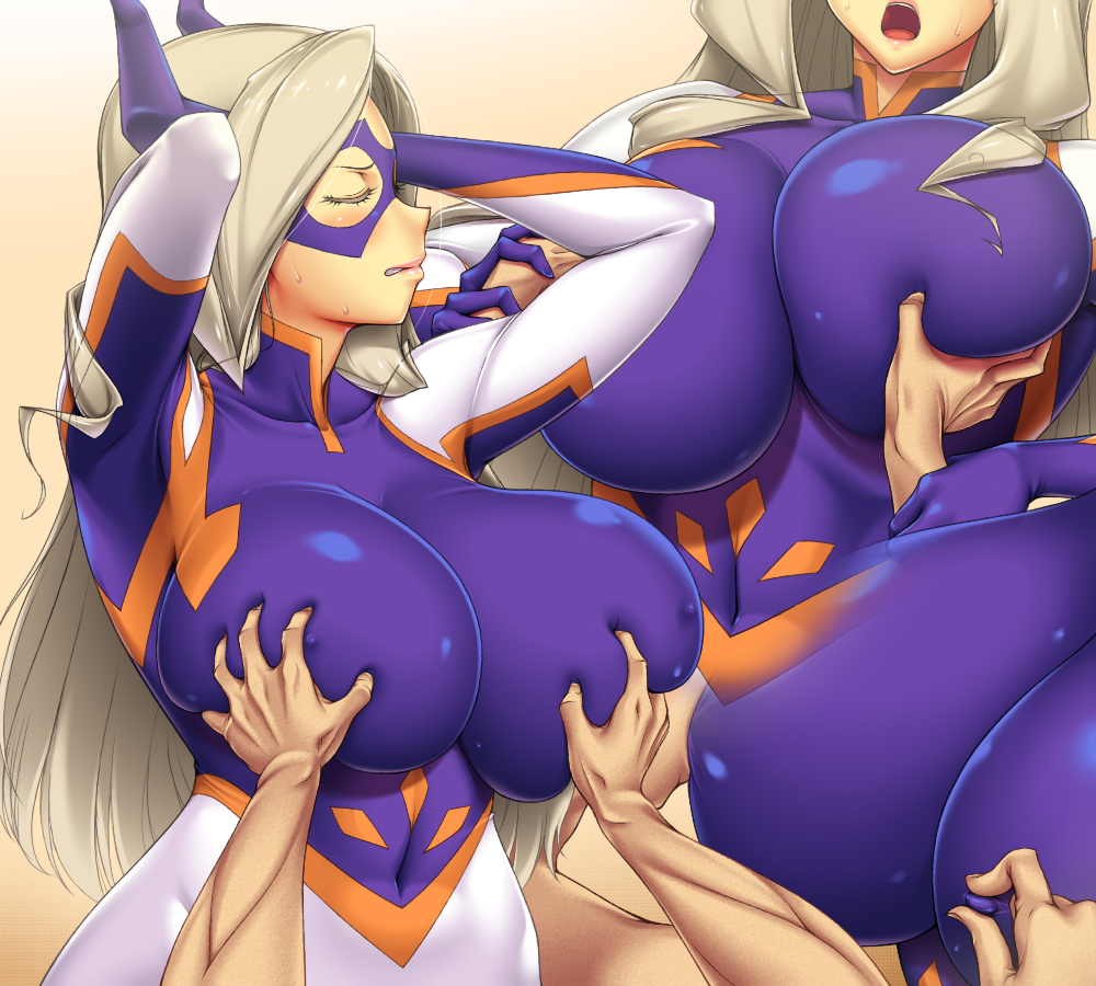 1boy 1girl ameoto arms_up bangs blonde_hair blush bodysuit boku_no_hero_academia breast_grab breast_sucking breasts clenched_teeth closed_eyes covered_navel domino_mask embarrassed erect_nipples foreplay gloves grabbing groping horns huge_breasts long_hair mask moaning mount_lady my_hero_academia nipple_bulge nipple_tweak open_mouth sequential skin_tight sweat teeth