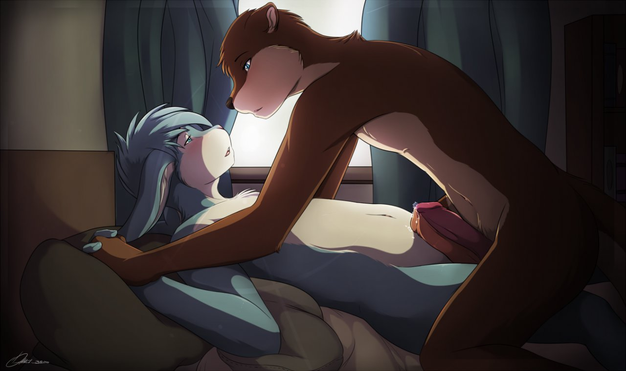 2_boys 2_males :3 all_fours anthro anthro_only bed bedroom blush duo erection frottage fur furry indoors kneeling lagomorph looking_at_each_other lying male male/male male_anthro male_only mammal mustelid nude otter otterbits penis rabbit sex zachrabbit