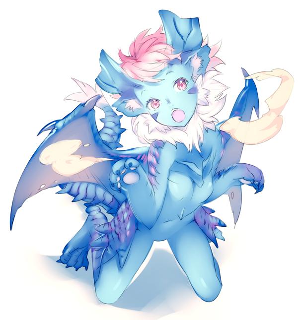 1girl blue_skin capcom chimera dragon_girl fur horns lunastra monster_girl monster_hunter nishieda paws pink_hair pointy_ears red_eyes solo tail wings