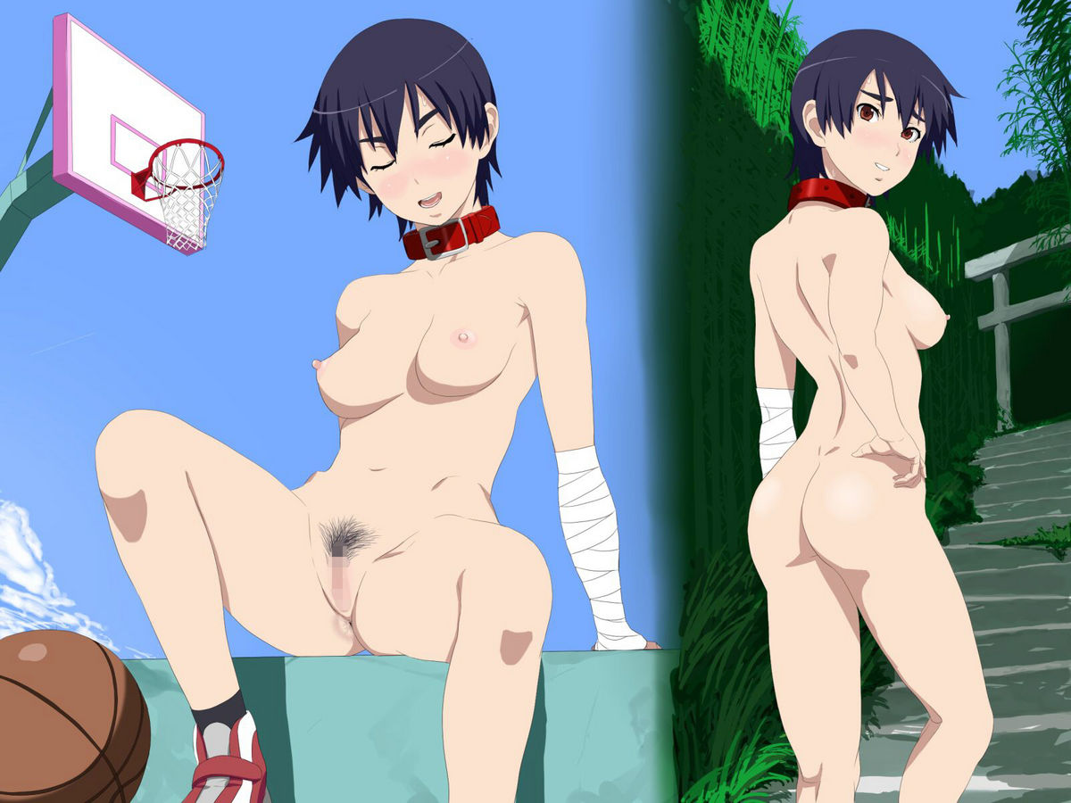 1girl 4:3_aspect_ratio areola ass bakemonogatari bandages basketball basketball_hoop black_hair blush breasts brown_eyes censored closed_eyes collar cottage kanbaru_suruga looking_at_viewer looking_back medium_breasts monogatari_(series) mosaic_censoring nipples nude potential_duplicate pubic_hair pussy short_hair stairs