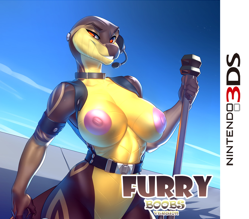 1girl 1girl amber_eyes anthro big_breasts breasts edit english_text furry headphones minanfranco nipples nude parody pose rashii reptile scalie skygracer smile standing text