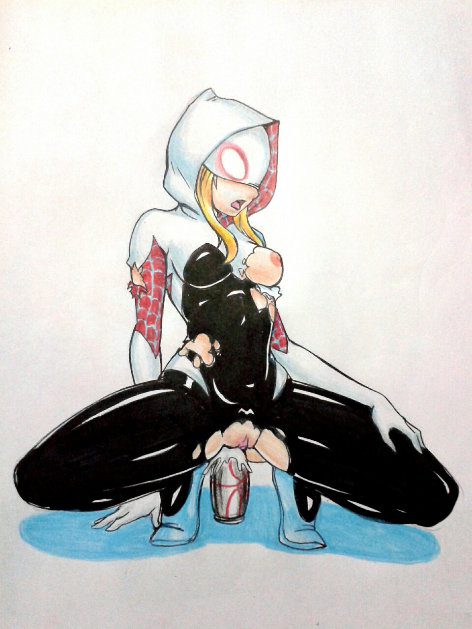 blonde_hair breast dildo gwen_stacy marvel marvel_comics pussy_juice spider-gwen squirt tits torn_clothes