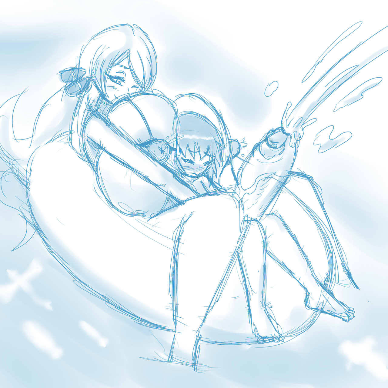 big_breasts bikini blush covered_nipples cum cynthia dawn dawn_(pokemon) futanari futanari_with_female handjob heart heart-shaped_pupils hikari_(pokemon) huge_breasts large_breasts monochrome nikoh one_eye_closed pokemon pokemon_(anime) porkyman shirona_(pokemon) symbol-shaped_pupils water