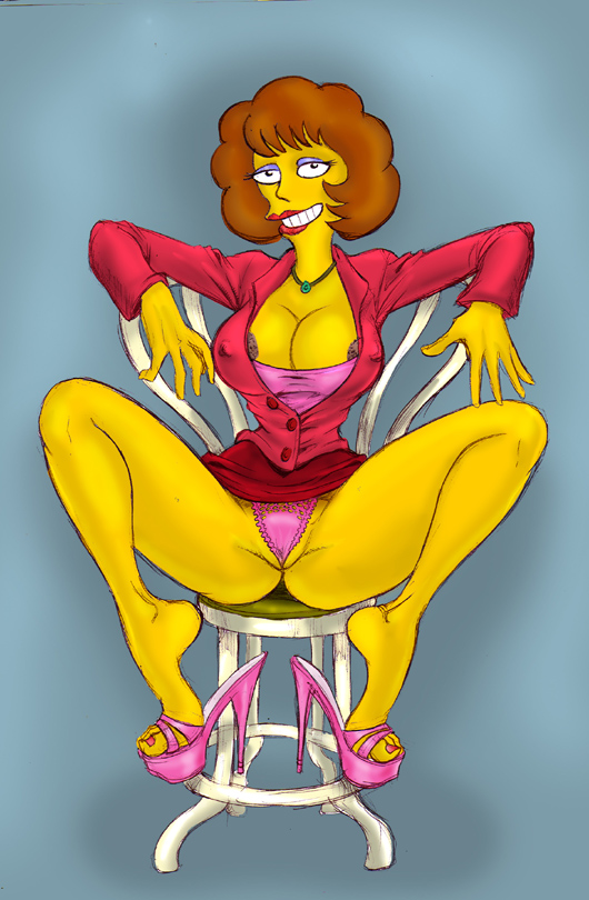 big_breasts chair feet female_only maude_flanders panties spread_legs the_simpsons