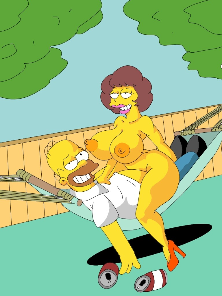 1girl 1girl areola big_breasts cleavage english_text erect_nipples homer_simpson human male maude_flanders maxtlat nipples sex the_simpsons