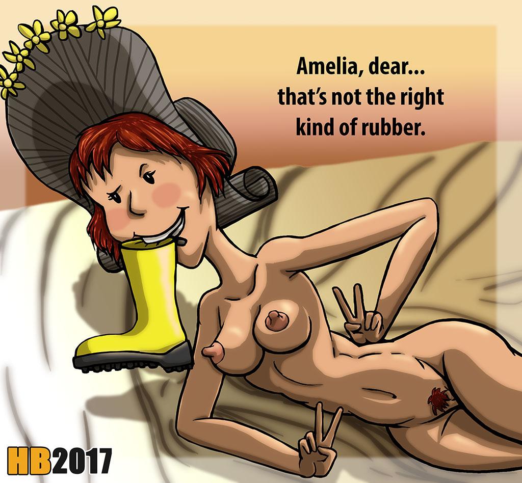 1girl amelia_bedelia bonnet hentai_boy human maid nude red_hair